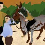 Un abuelo, el nieto y el burro